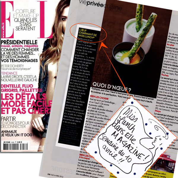 'L'œuf charmant' de Miss Lunch - ELLE, 6 avril 2012